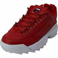 Fila Women's Shoes Disruptor Ii Premium Repeat Leather Low Top Lace, Red, Size