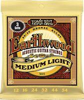 Ernie Ball Earthwood Medium Light 8020 Bronze Acoustic Guitar Strings 3 Pack -