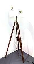 Dark Wooden Tripod Floor Lamp Base Only + Adjustable Legs FREE P&P