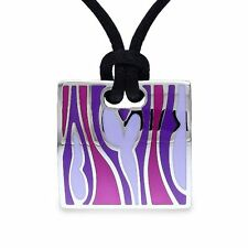 "Stainless Steel Pink and Purple Epoxy Pendant Necklace 20"" Black Silk Rope Chain"