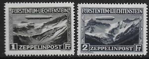 Liechtenstein stamps 1931 MI 114-115 ZEPPELIN Airmail MNH VF