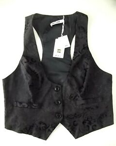 Smart Ladies Waistcoat Size XL Black Damask Lined Grace Karim Good BNWT Xmas N1