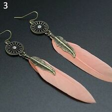 Vintage Antique Bronze Light Pink Feather Ear Drop Dangle Earrings Birthday Gift