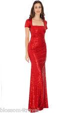 Goddiva Sequin Square Neck Evening Maxi Gown Dress Prom Party Ball Bridesmaid