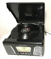 Crosley CR711 Vinyl Record Player AM/FM Radio, Piano Black & 50's style Chrome