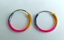 Pair Of Sterling Silver 925  Anodised Colour  Hoop Earrings 16  mm  !!    New !!