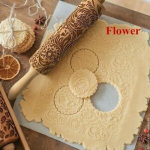 Flower Paisley Wooden Rolling Pin Embossing Baking Cookies Biscuit Christmas UK