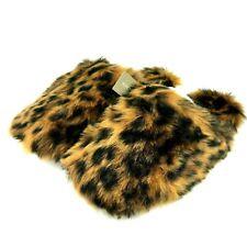 J Crew Womens Large 11-12 Brown Leopard Fuzzy Faux Fur Slippers