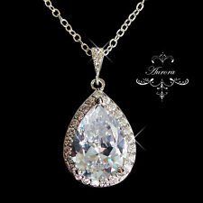 Swarovski Crystal Elements Clear Teardrop Necklace Wedding 925 Sterling Silver