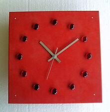 Design Glasuhr rot Funk Wanduhr Esszimmer Wohnzimmer Küche Uhr silber modern Uhr