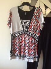 GITANE Coral Pink Black White Grey Short Sleeve Stretch Top Blouse M 10 12
