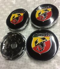 4 x Abarth Fiat Alloy Wheel Hub Centre Cap Set New Center Caps Red Yellow 60mm