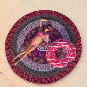 Indian Mandala Art Tapestry Beach Picnic Blanket Throw Towel YogaMat Round Towel