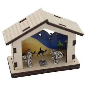 Christmas Decoration - Miniature Nativity Wooden Stable Scene & Metal Figures
