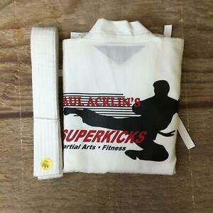 Paul Acklin's Superkicks Unisex Size 000 White Martial Arts Taekwondo Uniform NW