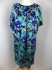 OSSIE CLARK lined dress Size 12 blue yellow printed pleated