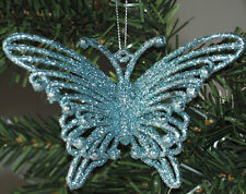 Set Of 6 Glitter 3D Butterfly Christmas Tree Baubles Decorations - Ice Blue