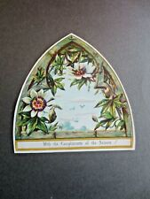 Victorian Greetings Card 1880s Church Window Shaped Passion Flowers Embossed