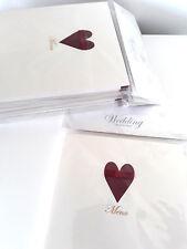48 x Blank WEDDING MENU cards Red Burgandy Heart Bow Valentines Ball?