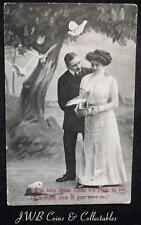 """Old Poetry Postcard 2.""""You Love Those Birds Its Plain To See, I Wonder Now If .."""