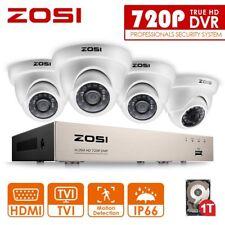 ZOSI 8CH 720P TVI DVR 4 Außen Dome Überwachungskamera System Set 1TB Festplatte