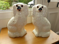 ANTIQUE PAIR OF STAFFORDSHIRE SPANIEL DOGS