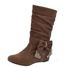 WOMENS LADIES MID WEDGE HIGH HEEL BOOTIES CUTE SHOES KNEE CALF ZIP BOOTS SIZE