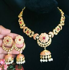 Golden Pink Ruby Cubic Zirconia Necklace/Pink CZ Necklace/Kundan PinkCZ Necklace