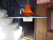 New listing Swedish Mid-Century Hanging Lamp Glass And Metal Blue/Orange Color Attractive