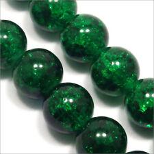 Pack Von 20 Perlen Krakelee aus Glas 10mm Dunkelgrün