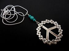 "A TIBETAN SILVER FLOWER TURQUOISE BEAD PEACE SIGN NECKLACE. NEW. 18"" CHAIN"