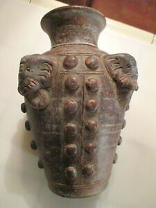"ANTIQUE  VINTAGE ASIAN 9""1/2 TALL  THAI Rhyton ceramic pottery ELEPHANT  VASE"