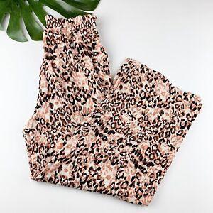 New Lularoe Dianne Wide Leg Paper Bag Waist Pants Leopard Print Size M Medium