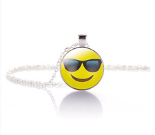 Cool Emoji Crystal Glass Pendant Necklace Jewelry Gift Bag- Silver