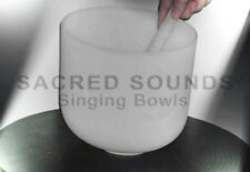 CRYSTAL SINGING BOWL 9 INCH HEART CHAKRA NOTE F QUARTZ FROSTED FUSION BOWLS NEW
