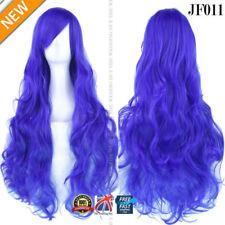 Perruques, extensions et matériel bleu long bouclés pour femme