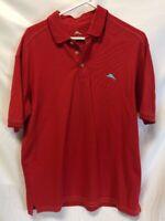 Tommy Bahama Red Pima Cotton Poly Marlin Logo Polo Shirt Golf Large Mens EUC
