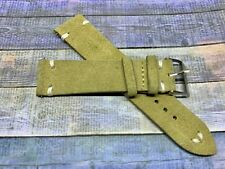 PLEASE READ Tan Vintage Suede Leather watch band strap 21mm Stainless Buckle