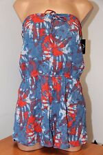 NWT Volcom Swimsuit Bikini Cover Up Romper Size S Blue Drift Wash