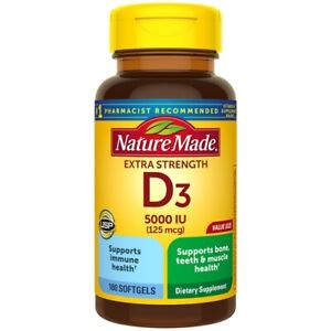 Nature Made Extra Strength Vitamin D3 5000 IU (125 mcg) Softgels, 180 Count
