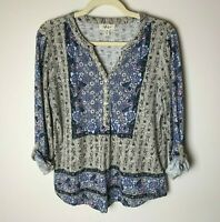 Style & Co. Women's Top Size Medium Petite 3/4 Roll-Tab Sleeves Floral Casual