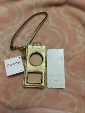 Coach Apple Ipod Nano Holder Case Wristlet Metallic Leather