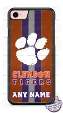 Customized Clemson Tigers Tread Design Phone Case with name for iPhone LG etc