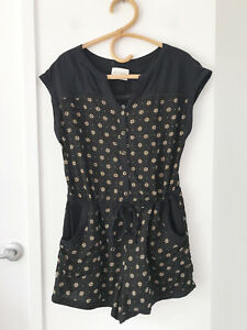 ELEMENT Size 12 Black Short Sleeve Button Front Tie Waist 100% Rayon Playsuit