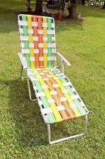 Vintage Green Yellow Orange Webbed Aluminum Folding Chaise Lounge Chair
