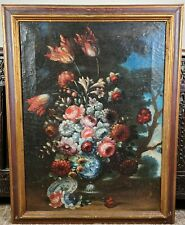 Antique Old Master Floral Still Life Oil Painting Flowers Tulips Spanish Italian