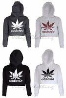 Womens Addicted Print Hooded Crop Top Hoodie Sweatshirt Pullover 8 10 12 14