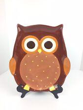Owl Serving Platter Harvest Friends Brown Yellow Fall Boston Warehouse 2014 New
