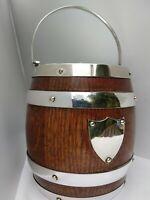 Original Antique English Oak Barrel Silver Plate Nickel Heavy Quality