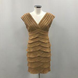 Adrianna Papell Dress Women's UK 10 Gold Beige Sleeveless V-Neck Sheath 153689